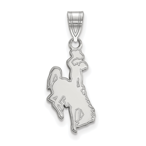Sterling Silver 3/4in University of Wyoming Cowboy Pendant