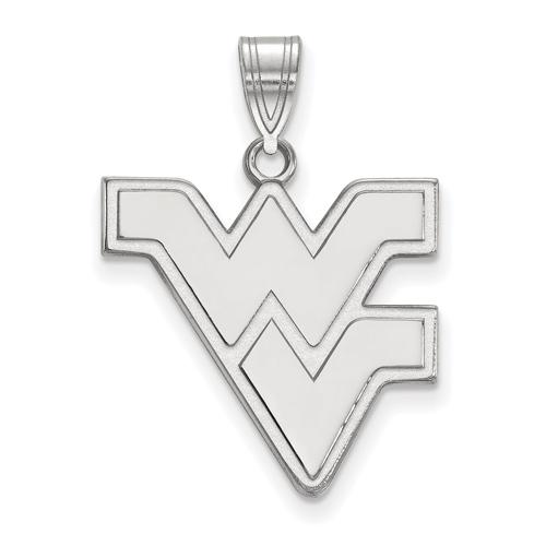 10kt White Gold 3/4in West Virginia University WV Pendant