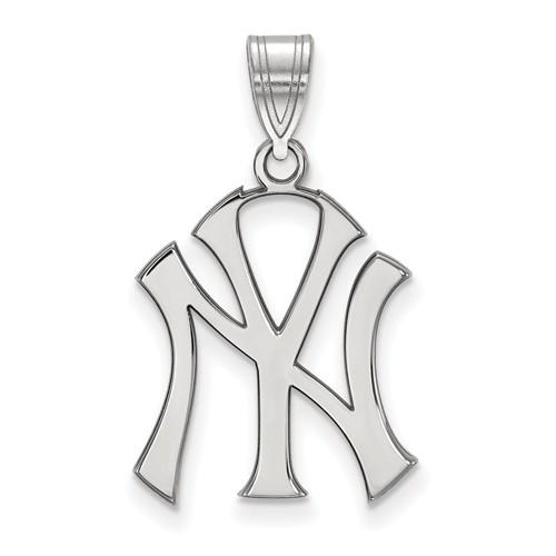 Sterling Silver 3/4in Laser cut New York Yankees Pendant