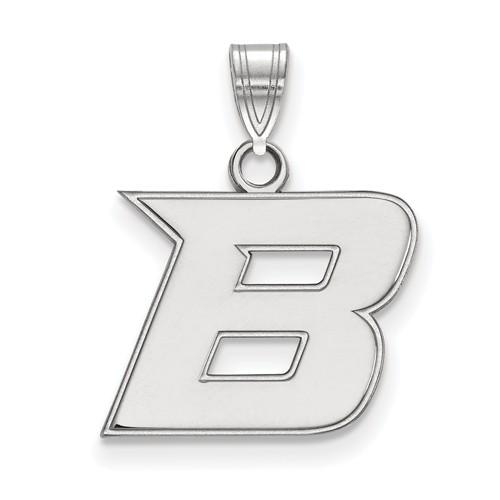 Boise State University B Charm 1/2in 10k White Gold