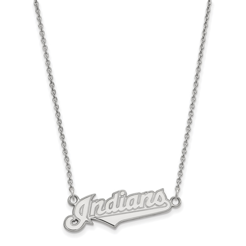 Sterling Silver 3/8in Cleveland Indians Logo Pendant on 18in Chain