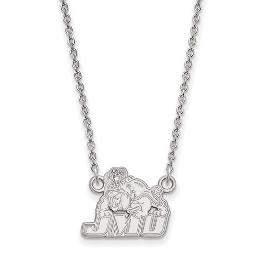 14k White Gold Small James Madison University Pendant with 18in Chain