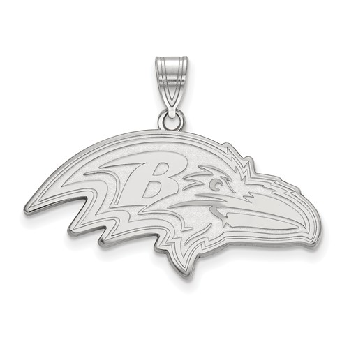 14k White Gold 1 1/3in Baltimore Ravens Pendant