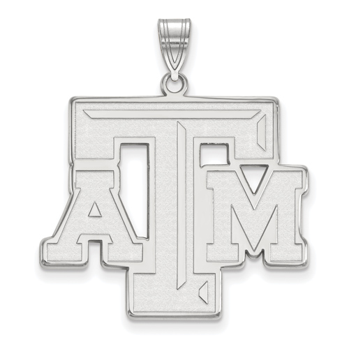 Sterling Silver 1in Texas A&M University Beveled Pendant