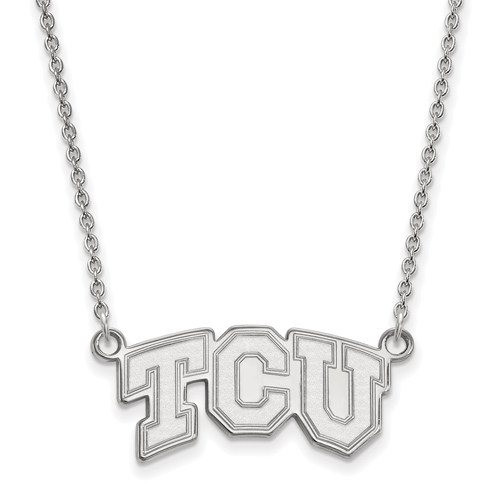 Sterling Silver 1/2in Texas Christian University TCU Pendant with 18in Chain