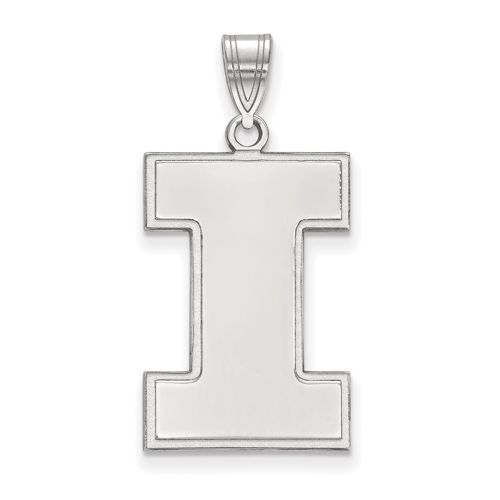 Sterling Silver 1in University of Illinois Block I Logo  Pendant