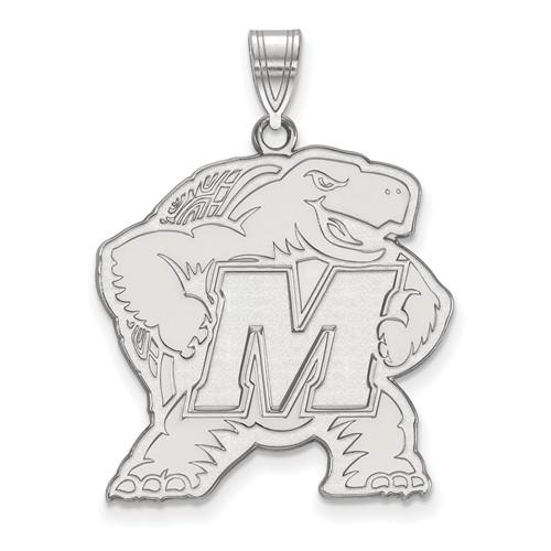 14k White Gold 1in University of Maryland Terrapin Pendant