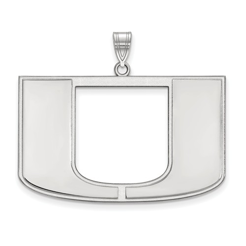 Sterling Silver 1in University of Miami U Logo  Pendant