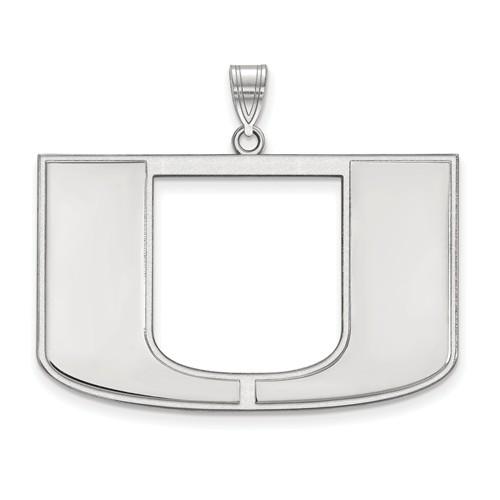 Sterling Silver 1in University of Miami U Logo  Pendant