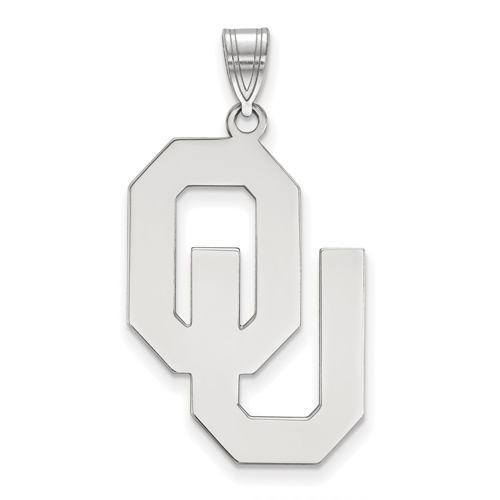 Sterling Silver 1in University of Oklahoma OU Pendant