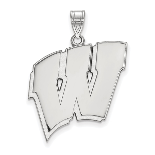 Sterling Silver 1in University of Wisconsin W Pendant