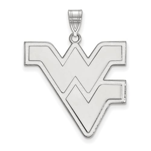 Sterling Silver 1in West Virginia University WV Pendant