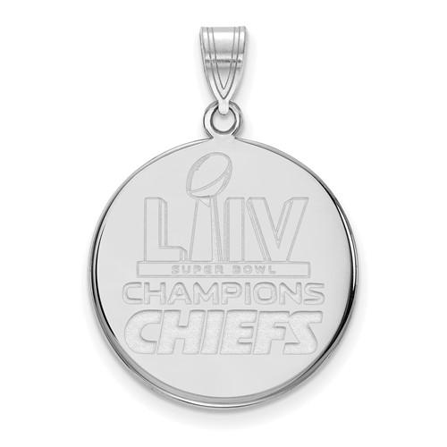 Sterling Silver Kansas City Chiefs Super Bowl LIV Disc Pendant 3/4in