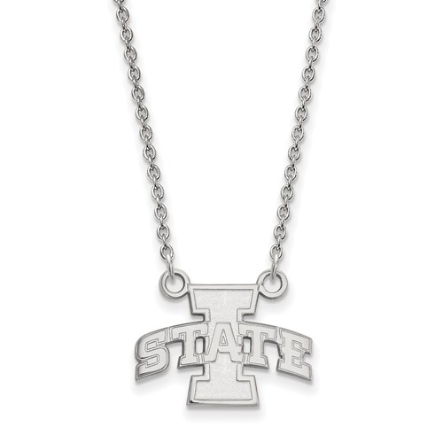Iowa State University 1/2in Pendant on Necklace 14k White Gold