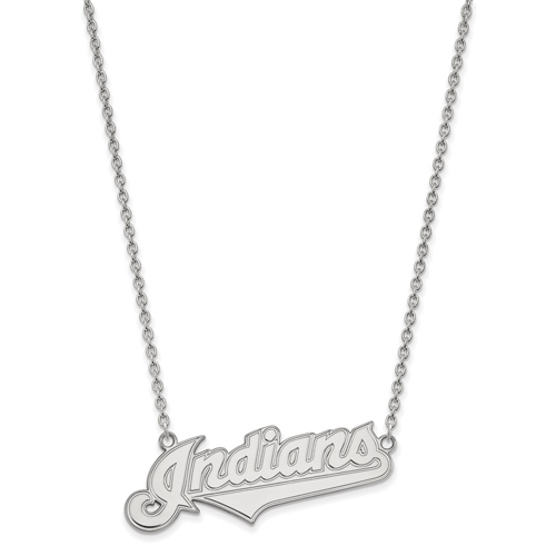 Sterling Silver Cleveland Indians Pendant on 18in Chain