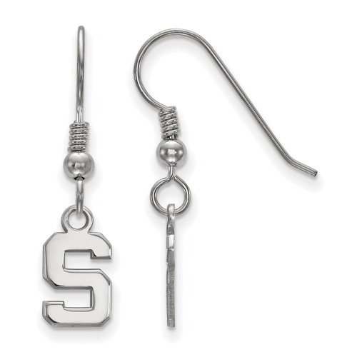 Sterling Silver Michigan State University Block S Extra Small Dangle Earrings