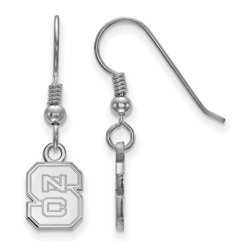 Sterling Silver North Carolina State University Block S Extra Small Logo Dangle Earrings