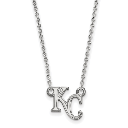 Sterling Silver 1/2in Kansas City Royals KC Pendant on 18in Chain