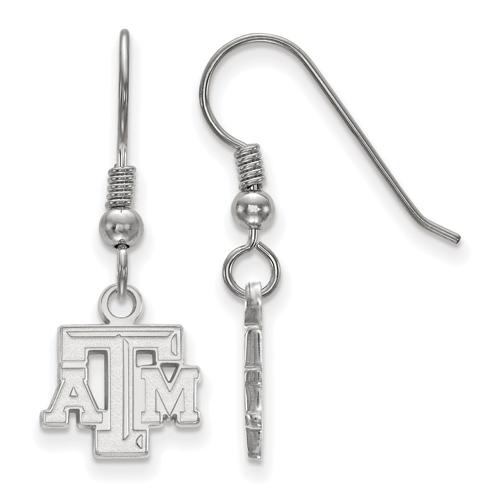 Silver Texas A&M University Beveled Logo Extra Small Dangle Earrings