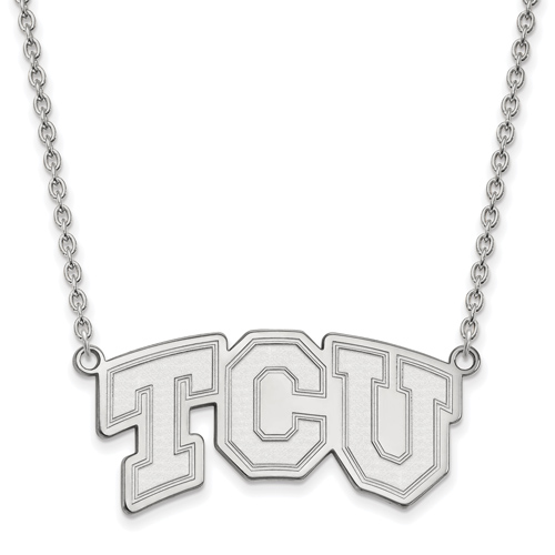 Sterling Silver Texas Christian University TCU Pendant with 18in Chain