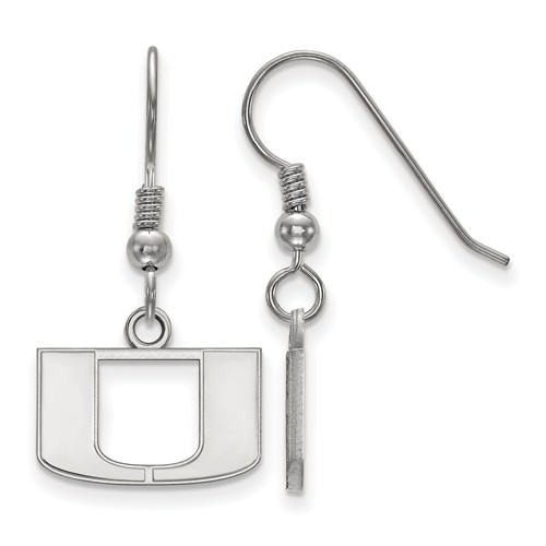 Sterling Silver University of Miami U Extra Small Dangle Earrings