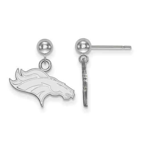 14k White Gold Denver Broncos Dangle Ball Earrings