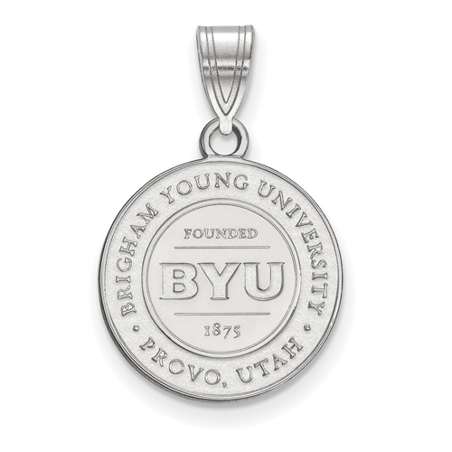 Brigham Young University Round Crest Pendant 5/8in Sterling Silver