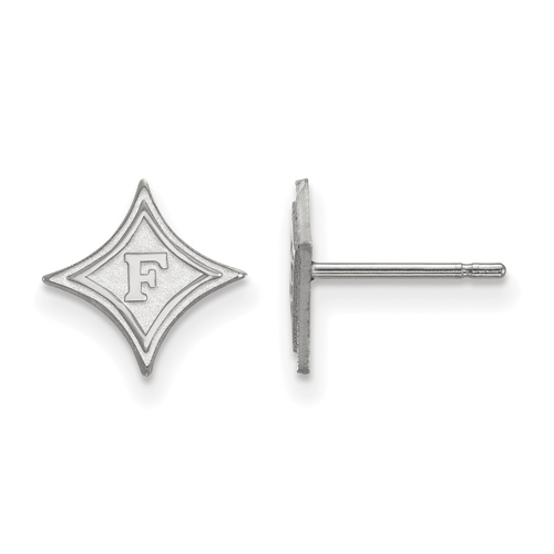 10k White Gold Furman University Extra Small Stud Earrings
