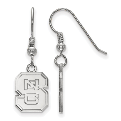 Sterling Silver North Carolina State University Block S Dangle Wire Earrings