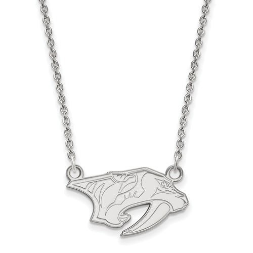 10k White Gold Small Nashville Predators Pendant with 18in Chain
