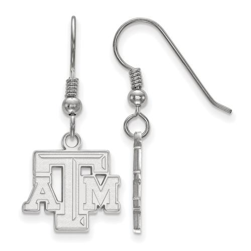 Sterling Silver Texas A&M University Beveled Logo Dangle Wire Earrings