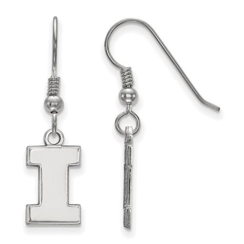 Sterling Silver University of Illinois Dangle Wire Earrings