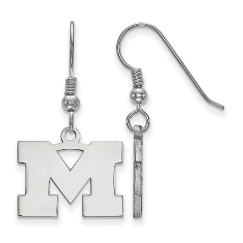 Sterling Silver University of Michigan Dangle Wire Earrings