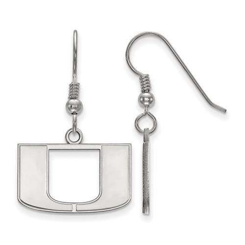 Sterling Silver University of Miami Dangle Wire Earrings