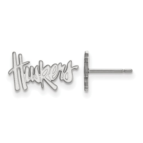 Sterling Silver University of Nebraska Huskers Extra Small Post Earrings