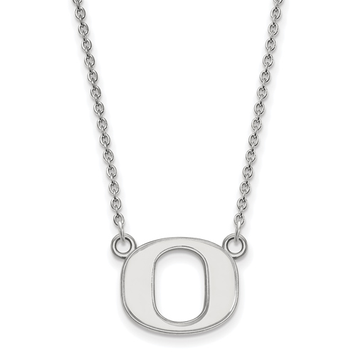 Sterling Silver 1/2in University of Oregon OU Pendant with 18in Chain