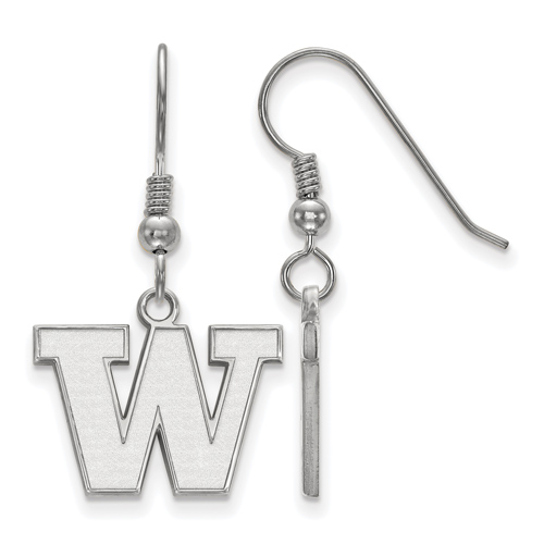 Sterling Silver University of Washington W Small Dangle Earrings