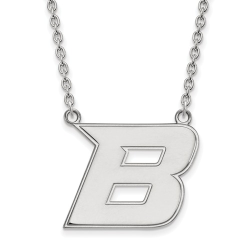 Boise State University B Necklace 3/4in 10k White Gold