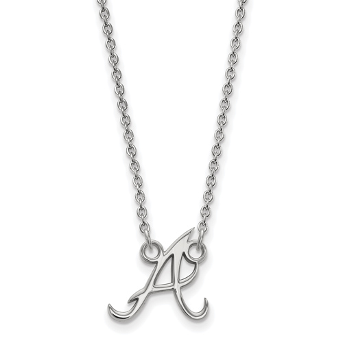 Sterling Silver 1/2in Atlanta Braves A Pendant on 18in Chain