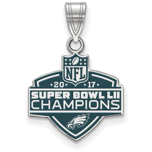 Sterling Silver Philadelphia Eagles Super Bowl LII Enamel Pendant