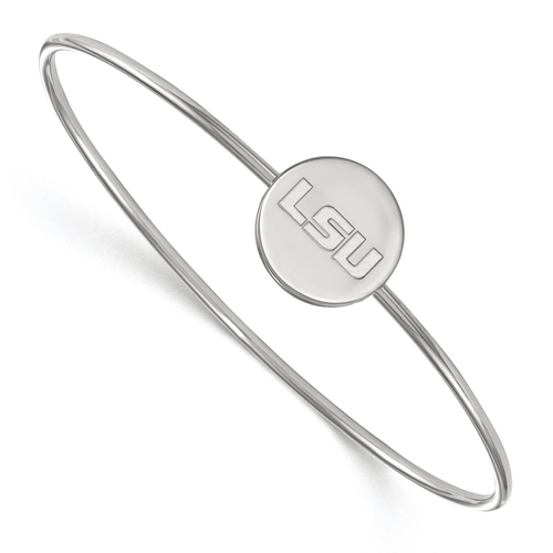 Sterling Silver 8in Louisiana State University LSU Slip On Bangle