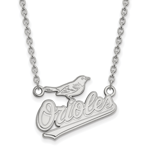 14k White Gold 1/2in Baltimore Orioles Pendant on 18in Chain