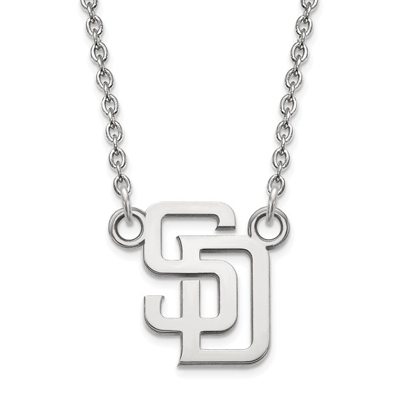 Sterling Silver 1/2in San Diego Padres Baseball Pendant on 18in Chain