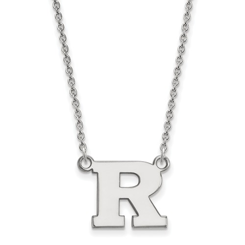 10k White Gold Rutgers University Small Necklace