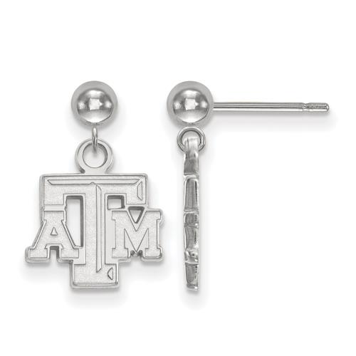 Sterling Silver Texas A&M University Dangle Ball Earrings