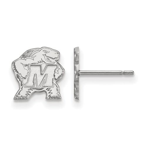 Sterling Silver University of Maryland Extra Small Logo Earrings