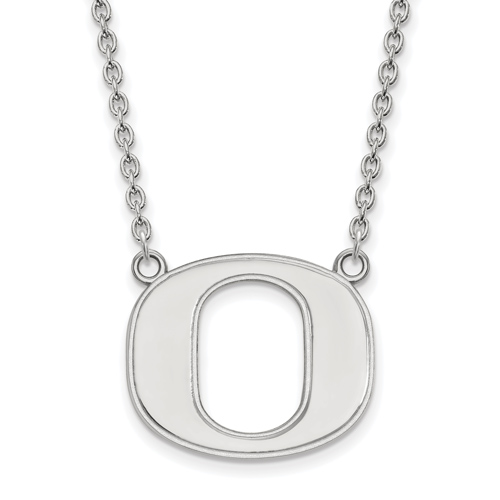 Sterling Silver University of Oregon O Pendant with 18in Chain