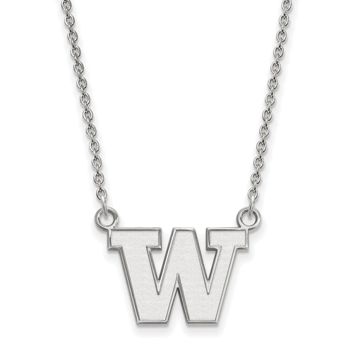 Sterling Silver 1/2in University of Washington W Pendant with 18in Chain