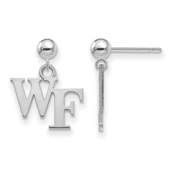 14k White Gold Wake Forest University Dangle Ball Earrings