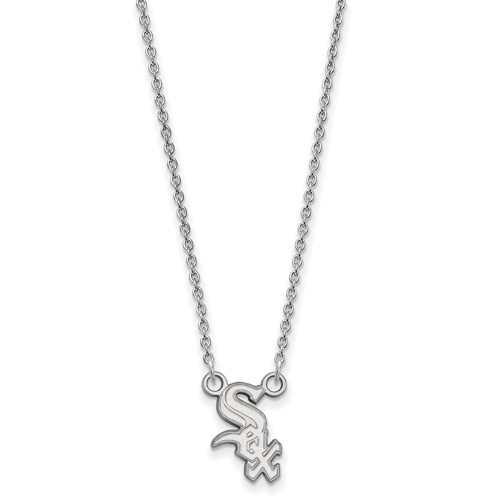 14kt White Gold 1/2in Chicago White Sox Logo Pendant on 18in Chain
